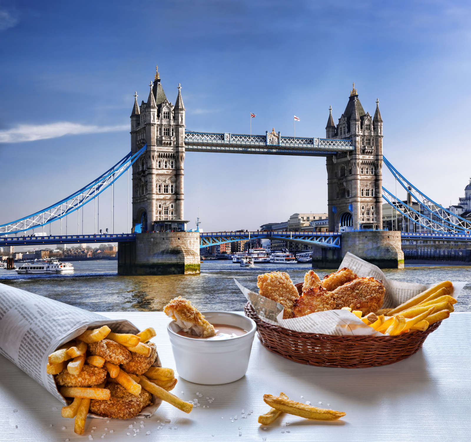 Tower Bridge, Londra, fish and chips