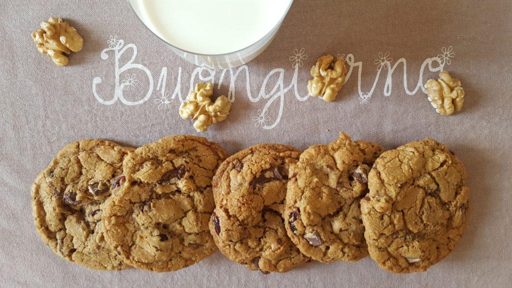 Cookies cioccolato noci e mirtilli rossi